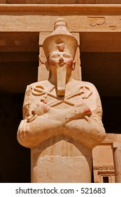 Statue of Queen Hatshepsut, the female Pharaoh, as Osiris in her temple on the west bank of the Nile at Luxor (Thebes)