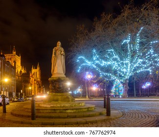 Statue of Queen Victoria with Bristol Cathedral and Christmas Lights in the Background, Long Exposure Night Photography