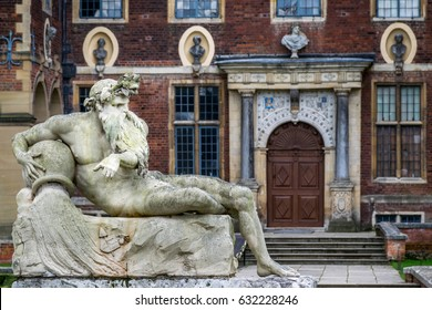 Statue of a reclining river god in front of Ham House