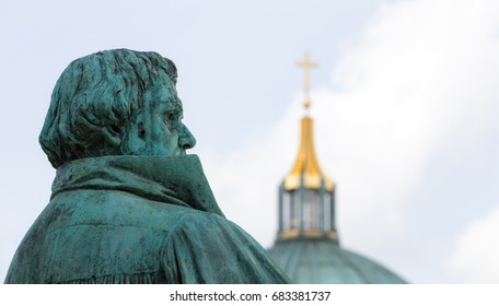 A statue of the reformer Martin Luther is in Berlin (Germany)