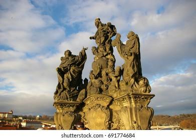 Statue Replica on the Historic Charles Bridge