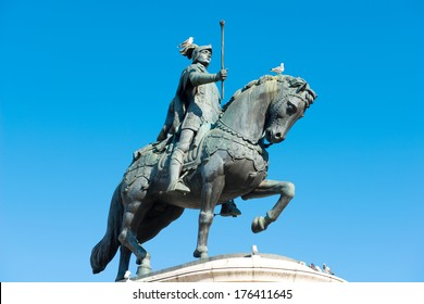 statue of a riding man in Lissabon Portugal