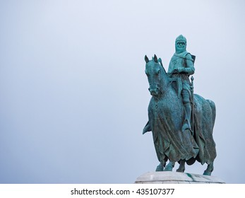 Statue of Robert the Bruce king of the Scots at the 1314 battleground in Bannockburn Stirling, Scotland, UK