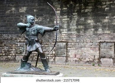 The Statue Of Robin Hood at Nottingham Castle, Nottingham, UK