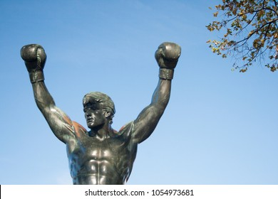 Statue of Rocky Balboa, commemorative film starring by Sylvester Stallone, located in the Museum of art of Philadelphia, Pennsylvania, USA. November 2016