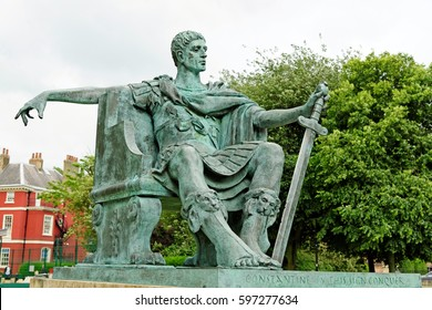 Statue of the Roman Emperor Constantine the Great proclaimed Emperor at York in 306 AD. England, UK.