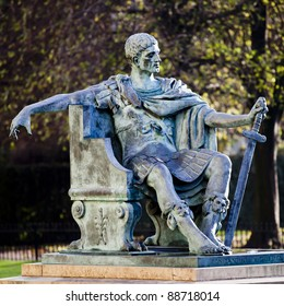 A statue of roman emperor Constantine I outside York Minster