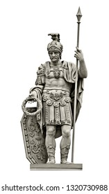 Statue of Roman god of war Mars (Ares). Isolated on white