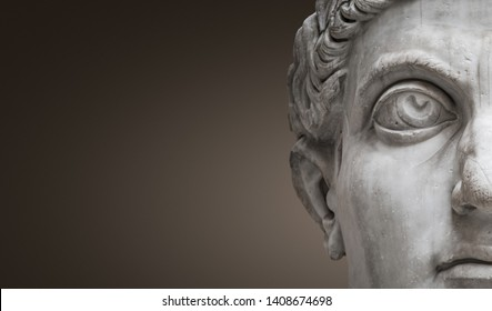 Statue of Roman Nobel Man, his face at closeup, isolated at smooth gradient background, Rome, Italy, banner, details