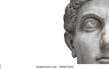 Statue of Roman Nobel Man  isolated at white background, Rome, Italy,streamer
