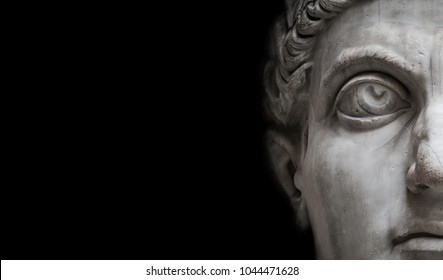 Statue of Roman Nobel Man  isolated at black background, Rome, Italy,streamer