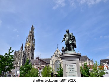 Statue of Rubens with Cathedral of Our Lady in background at Groenplaats, the Central Square of Antwerp, Belgium.