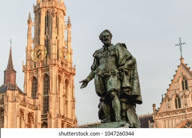Statue of Rubens on the Groenplaats with the Cathedral of Our Lady, Antwerp, Belgium