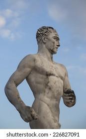 Statue of a runner in Stadio dei Marmi, Rome, Italy