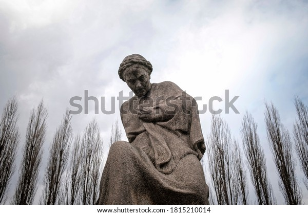 The statue of Russian Mother (Matuška Rossija) inside the Soviet War Memorial (Sowjetisches Ehrenmal) in Treptower Park, Berlin, Germany, February 28th 2020