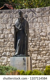 Statue of saint Augustin in the center of Trogir, Croatia
