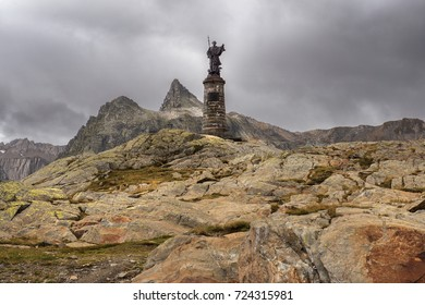 statue of Saint Bernard at the Great St Bernard Pass / Col du Grand-Saint-Bernard in the Swiss Alps, on the border between Italy and Switzerland