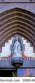 Statue of saint catharina in Barneveld, the Netherland on a art deco building