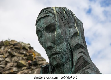 Statue Of Saint Cuthbert on the Holy Island priory at Lindisfarne