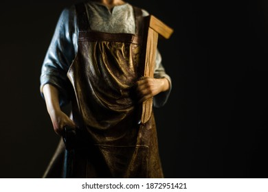 Statue of Saint Joseph - details in black and white and color