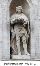 Statue of Saint Louis in Saint Louis cathedral of Rome, Italy