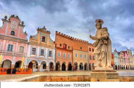 Statue of Saint Margaret on the main square of Telc, Czech Republic