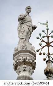 Statue of Saint Mark on the roof of the Doge's Palace in Venice, Italy.
