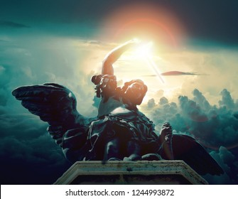 statue of saint michael from  sant'angelo castle in rome with dramatic light teal orange palette apocalypse judgement concept