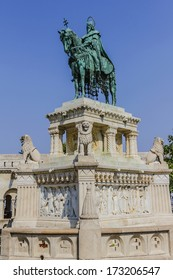 Statue of Saint Stephen I - the first king of Hungary in Front of Fisherman's Bastion at Buda Castle in Budapest, Hungary, Europe