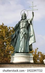 Statue of Saint Stephen Istvan King of Hungary  on Heroes Square Budapest Hungary