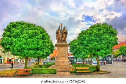 Statue of Saints Cyril and Methodius in Trebic - Moravia, Czech Republic