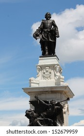 Statue of Samuel de Champlain against blue summer sky in the historic area of Quebec City, Canada
