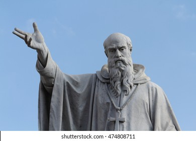The statue of San Benedetto in Norcia