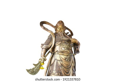 Statue of Sangharama Bodhisattva (Guan Gong in Chinese) in White Background