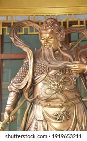 Statue of Sangharama Bodhisattva or Guan Yu (Chinese) at Fo Guang Shan Thaihua Temple (a Beautiful Mahayana Buddhist Taiwanese Temple locating in North Bangkok Thailand)