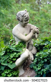 Statue of Satyr in public national central park of Athens,Greece