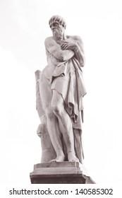 Statue of the Seasons on Santa Trinita Bridge, Florence (1608), Italy in Black and White Sepia Tone
