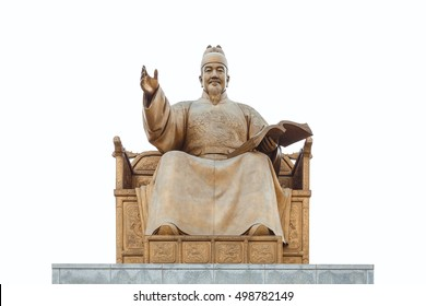 Statue of Sejong the great, King of Korea, a major tourist attraction near Gyeongbokgung Palace in Seoul, South Korea, White Blackground