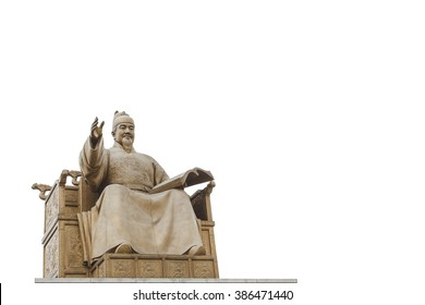 Statue of Sejong the great, King of South Korea viewed from the side with white background cutout