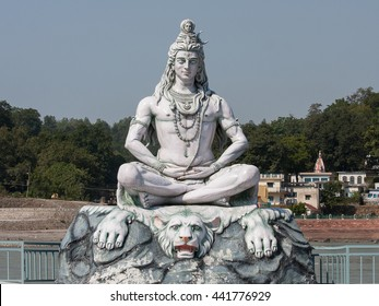 Statue Shiva, hindu idol on the river Ganges, Rishikesh , India