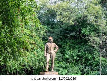 Statue of Sir David Livingstone at Victoria Falls in Zimbabwe