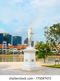 "Statue of Sir Tomas Stamford Raffles - best known for his founding of the city of Singapore. He is often described as the ""Father of Singapore"""