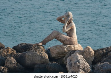 Statue of Siren in Taranto, Southern Italy