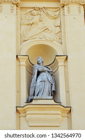 Statue of St Adelaide (Adelheid), Holy Roman Empress, in alcove outside the Theatine Church (Theatinerkirche), Munich, placed for the birth of Prince Max Emanuel in 1662 by mother, Henriette Adelheid