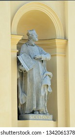 Statue of St Cajetan (Gaetano dei Conti di Thiene), founder of the Theatines, outside the 1660s Theatine church which bears his name in Munich.Patron saint of bankers, gamblers and the unemployed.