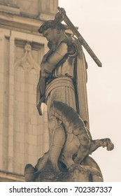 Statue of St George on top of War Memorial near Westminster Abbey in London, Split Toning Shallow Depth of Field