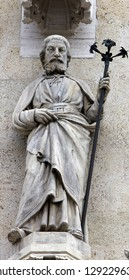 The statue of St. Joseph on the facade of the Zagreb Cathedral