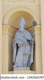 Statue of St Maximilian of Tebessa in alcove outside Theatine Church (Theatinerkirche), Munich, placed there as a name saint for the birth of Prince Max Emanuel in 1662 by his parents