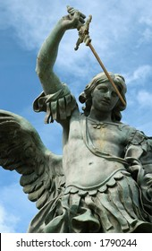 Statue of St. Michael on the top of Castel Sant' Angelo in Rome, Italy.