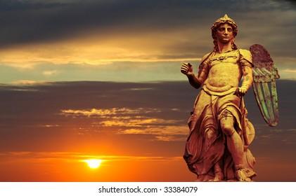 The statue of St Michael sculpted by Raffaello Da Montelupo in Castel Sant Angelo Rome